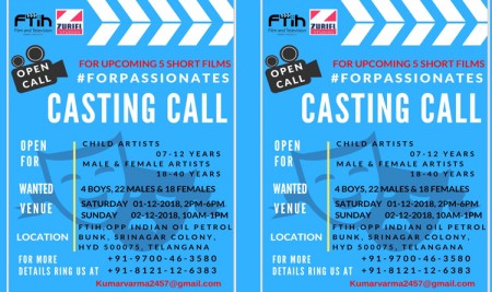 Casting Call for 5 Short Films